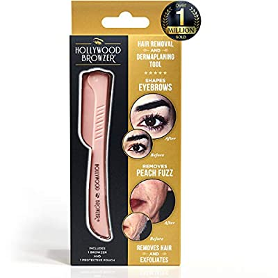 HOLLWOOD BROWZER Dermaplaning Blade for Face, Eyebrow Shaping, Removing Unwanted Hair, Exfoliating Tool for Women - Rose Gold by Hollywood Browzer