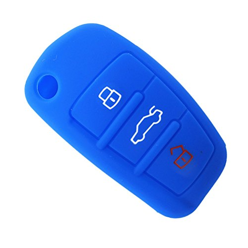 Happyit Silicone Voiture Clé à Distance Fob Shell Couverture Cas pour Audi Sline A3 A5 Q3 Q5 A6 C5 C6 A4 B6 B7 B8 TT 80 S6 (Bleu)