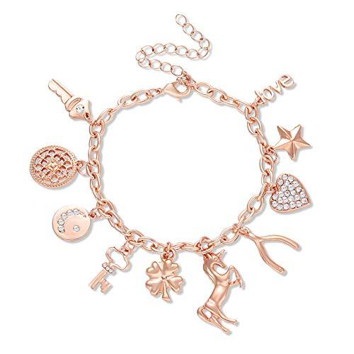 CEALXHENY Women's Charm Bracelet Unicorn Clover Star Heart Pendant Charms Link Chain Bracelet Bangles for Girls (Rose Gold)