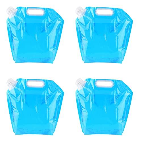 Cnley Contenedor De Agua De Grado Alimenticio, Jarra De Agua Plástica Transparente Libre De Bpa, Botella De Agua De Emergencia Plegable para Supervivencia Al Aire Libre Camping S(Size:5L,Color:4 Pcs)
