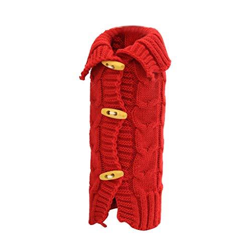 FEE-ZC - Manta para Botella de Vino con suéter navideño, Bolsa de Vino navideña no Tejida con botón para Fiestas navideñas, decoración de Mesa, Regalos - 10.6 (L) x 0.8 (W) x 4.7 (H), Rojo