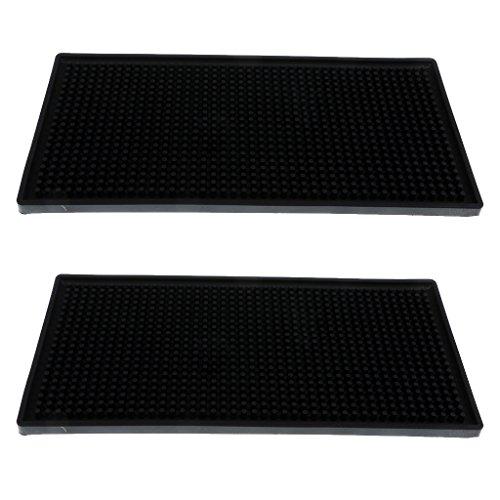 MagiDeal 2 Pcs Dessous de Verre Renforcement Antidérapant Etanche en Taille Différent 15 x 30 cm (Noir)