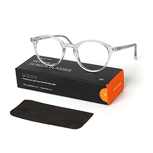 TIJN Damen Vintage Round Frame Brillenfassungen auf Rezept, 01transparent, M