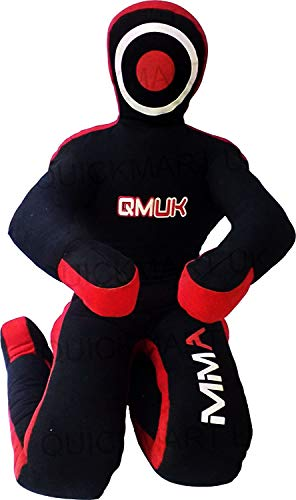 QMUK MMA Grappling Brazilian Jiu Jitsu Wrestling Mixed Martial Arts Judo Training Kick Boxing Dummy (Canvas Black/Red, 70' (6 Feet))