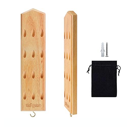Darts Caddy Darthalter zur Wandmontage, Darthalter aus Massivholz kann 12 Darts mit weicher oder Stahlspitze mit Metallhaken und Zubehör-Aufbewahrungstasche anzeigen