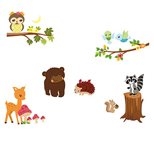 Lovely Animals Bear Deer Hedgehog Squirrel Wall Decal Home Sticker House Decoration WallPaper Removable Living Dinning Room Bedroom Kitchen Art Picture Murals DIY Stick Girls Boys kids Nursery Baby Playroom Decoration by fashionbeautybuy1