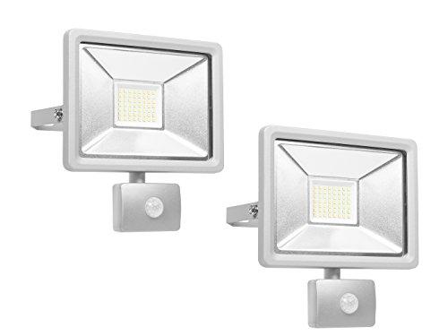 Set van 2 LED-spots met bewegingsmelder en smart-aansluiting, 30 watt, aluminium, IP44, Smartwares