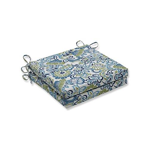 Pillow Perfect Outdoor/Indoor Zoe Mallard Squared Corners Seat Cushion 20x20x3 (Set of 2),Blue