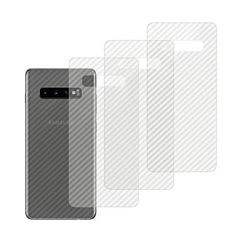 qichenlu [Carbon Muster] 4 Stücke Rückseite Folie für Galaxy S10, Folie Hinter für S10,Klar Matt Klebefolie Kratzfest Hinten Schutz