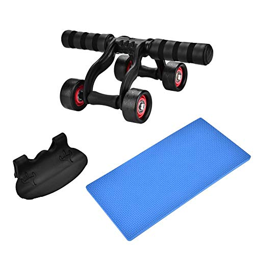 T best Ab Wheel Roller, 4 Wheel Fitness Ab Roller Workout System Abdominal Exerciser Knee Protection Pad for Home Office Gym