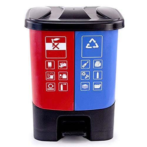 Cubos de basura Cubo de basura con forma de cubo Hogar cocina al aire libre Oficina Saneamiento Doble barril Cubo de basura con tapa (20L / 30L) Cubo de Reciclaje ( Color : Red+blue , tamaño :