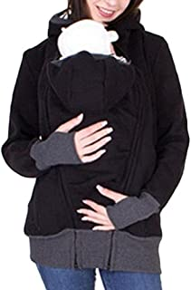 Women's Maternity Zip Up Kangaroo Baby Carriers Holder Hoodie Sweatshirt Fleece Pullover Pregnant Jacket Outwear