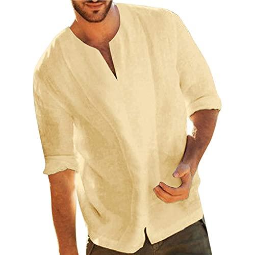 Camisas de lino para hombre de manga larga camisetas de verano hippie...