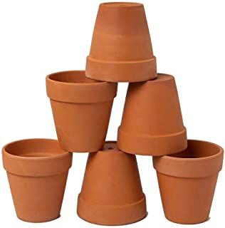 AHXML 6 Pcs 4'' Terracotta Flowerpot with Drainage Hole for Indoor or Outdoor Plant Gardening