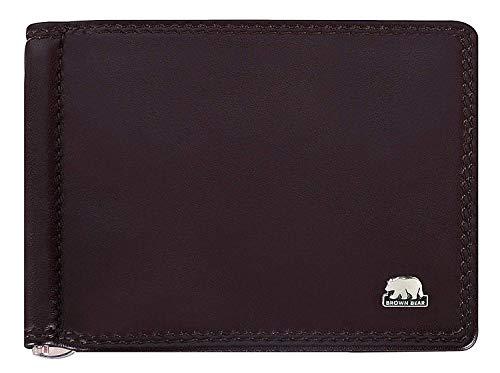 Brown Bear Brown Bear Geldbörse Herren Echt-Leder Braun mit Geldklammer ohne Münzfach RFID-Schutz, Männer Geldbeutel mit Dollarclip, Portmonee mit 6 Karten-Fächer, Portemonnaie 11.3 x 9 x 1 cm, 1017 mbr