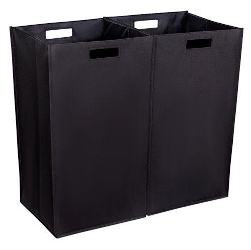 Internet's Best Collapsible Laundry Hamper - Set of 2 - Dirty Clothes Sorter with Handles - Magnetic Side - Easy Storage - Folding - Black