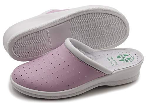 Chanclas sanitarias hombre y mujer, zapatillas profesionales cerradas, Zuecos sanitarios, zapatos ortopédicos cómodos, suela anatómica, Made in Italy Rosa Size: 36 EU