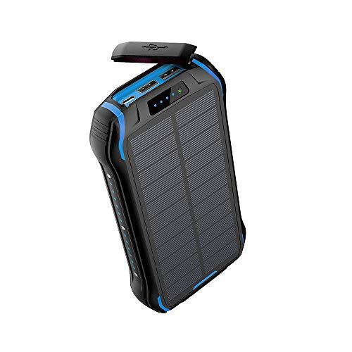 QYRL draagbare zaklamp 26800 mAh zonnelamp oplader snel Qi draadloze oplader voor iPhone Samsung Power externe batterij, blauw