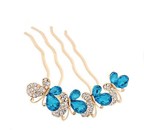 Peigne de style européen Metal Bowknot Rhinestones Décoration de cheveux, Bleu