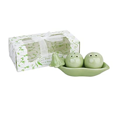 """""""Two Peas In A Pot"""" Ceramic Salt and Pepper Shakers Wedding Party Bag Fillers Gift Set from L-FENG-UK"""