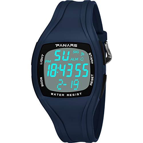 N \ A Reloj Deportivo Digital para Hombre, Reloj Deportivo al Aire Libre a Prueba de Agua 50M, Impermeable a Prueba de caídas antivibración, con luz Trasera LED de Alarma de cronómetro (Negro)