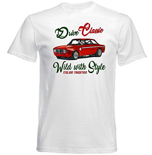TEESANDENGINES Men's ALFA Romeo GT JUNIOR 1969 (1) White T-Shirt Size Large