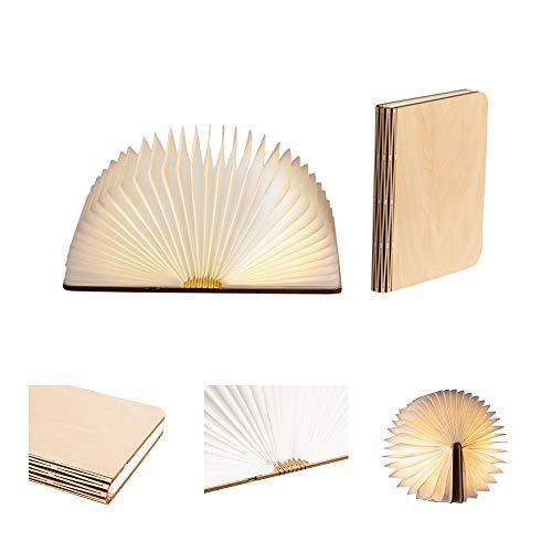 LEDR® - Buchlampe Book Lamp LED Buch Lampe Nachttischlampe Nachtlicht dekoratives Licht - USB Kabel enthalten - Wasserdicht - 100% DuPont™ Tyvek® Recyclingpapier (Ahornfarben: 16 x 12 cm)