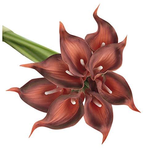 10 flores artificiales de tulipanes artificiales con toque de anturio, flores de primavera, ramo artificial para bodas, arreglos florales, centros de mesa para el hogar o la madre decoración (A)