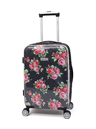 20' Hardside Luggage Carry On Suitcase Bundle with Free Microfiber Cleaning Cloth and Air Freshener (Rose Garden)