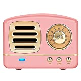 Portable Bluetooth Retro Speaker, Wireless Mini Vintage Speaker with Rich Bass, Stereo, Built-in Mic for Travel, Home,Outdoors (Pink)…