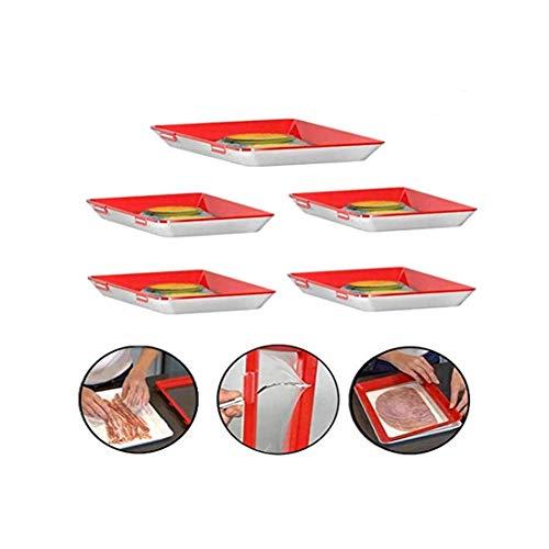 RedKids 5 Stücke Kreative Lebensmittelkonservierung Tablett, Vakuum Frische Aufbewahrung Tablett Mit Elastischen Film Schnalle Dichtung Vorratsbehälter Set Küchenhelfer aufschnittbox