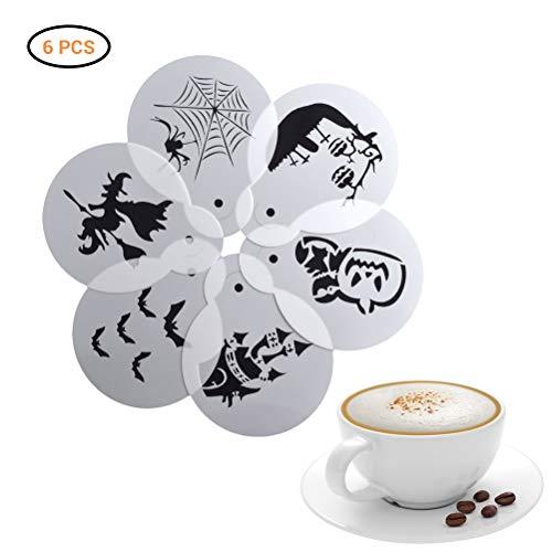 BovoYa Halloween Coffee Stencil Plantillas de Arte de café Bruja araña Molde de Calabaza Herramienta de pulverización de Capuchino Embellecedor Plantillas de Espuma de café 6 Piezas