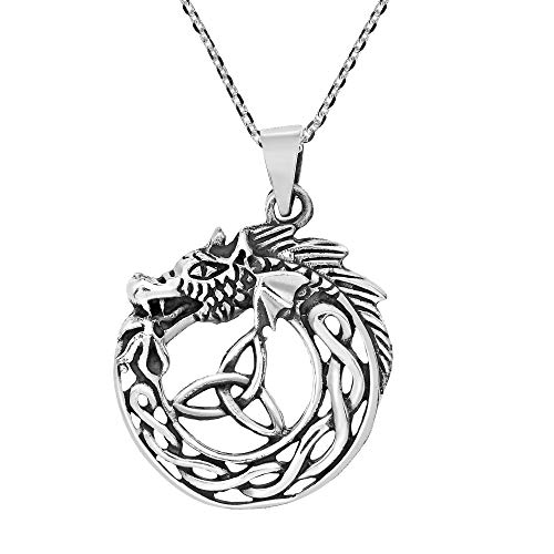 Mystic Ouroboros and Celtic Knot .925 Sterling Silver Pendant Necklace