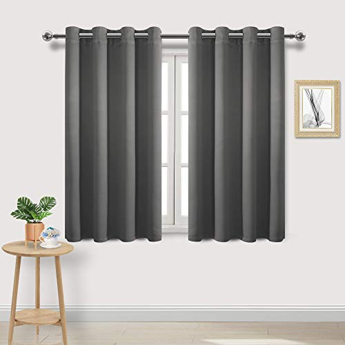 DWCN Dark Grey Room Darkening Blackout Curtains - Thermal Insulated Privacy Energy Saving Window Curtain Drapes 52 x 45 inch Length, Set of 2 Bedroom Living Room Curtains