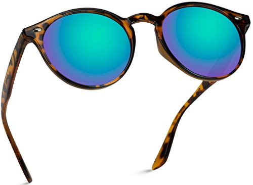 WearMe Pro Classic Small Round Retro Sunglasses, Tortoise Frame /Mirror Green Lens