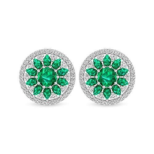 Pendiente redondo de 5,48 quilates, esmeralda con certificado SGL de diamante, lágrima verde piedra racimo flor vintage, pendientes de tuerca con piedra natal de mayo, rosca verde