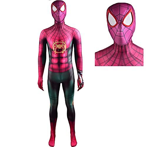 ZYZQ Spiderman Miles Morales Vestido de Lujo Disfraz PS5 Superhéroe Play Play Body Jumpsuit Halloween Performance Props Props 3D Lycra Spandex,Purple-Women~XL(165~170cm)
