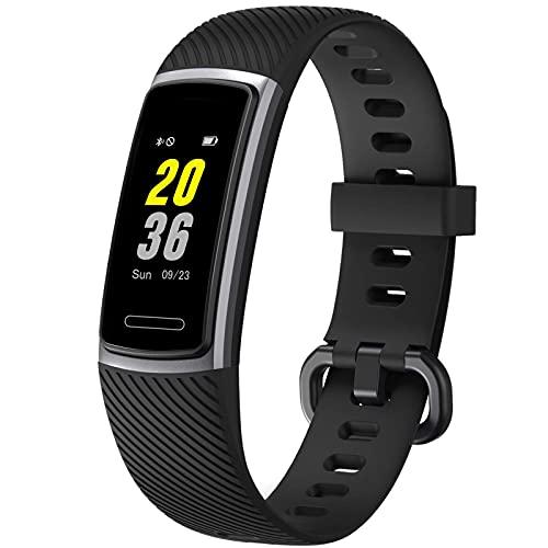 igh-End Fitness Trackers HR, rastreador de actividad con monitor de ritmo cardíaco IP68 impermeable reloj inteligente, contador de pasos, podómetro, monitor de sueño para mujeres y hombres (negro)