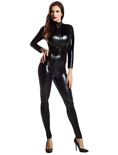 CHENGYANG Unisexo Zentai Licra De Cuerpo Completo Cool Disfraz De Segunda Piel Negro S