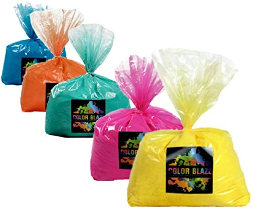Color Blaze 25 pounds Powder - 5 pounds each of pink, orange, yellow, teal, blue – Perfect for fun runs, youth groups, color wars, school fundraisers, birthday parties, camp - 25 lbs total