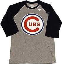 AMERICAN NEEDLE Cubs T-Shirt 3/4 Sleeve Bullseye Logo (X-Large) Grey