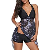 Cczxfcc Women Slim Smart Bright Conservative Irregular Print Halter Add Fertilizer Padded Swimwear 2020Plus Two Piece Swimsuit-Black_S