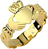 10k Yellow Gold Claddagh Friendship, Engagement, or Wedding Ring with Trinity Knot Band - Size 7