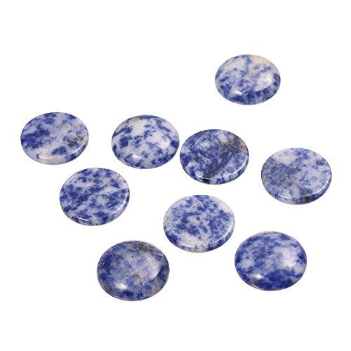 YUYUGO 20 cuentas de jade semipreciosas de color azul con cabujones de piedra natural para hacer joyas