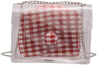 TOOGOO Plaid Jelly Bag Transparent Flip Bag Summer Beach Handbag Chain Shoulder Bag Ladies Messenger Bag Red