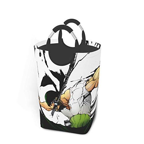 Anime One Piece Roronoa Zoro Cesto de lavandería plegable cesta de ropa durable tela Oxford portátil grande bolsa de lavandería con asa