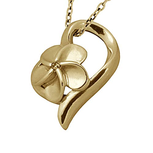 Hawaiian Flower Heart Necklace Pendant for Women and Girls 316L Stainless Steel 14K Gold Plated Plumeria Flower Engraved Hypoallergenic Polished Jewelry Hawaii Gift Swarovski Crystal
