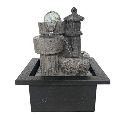 DONGTAISHANGCHENG Waterfall Decoration Tabletop Fountain Relaxation Waterfall Fountain 3-Step Modern Water Fountain with LED Ball for Office Desktop Fountain Home Decoration Indoor Fountain