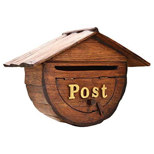 Buzón de madera Buzón retro Buzón de correos Sugerencia a prueba de lluvia Caja de puerta de villa creativa montada en la pared