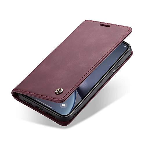 zanasta Ledertasche kompatibel mit Samsung Galaxy A70 Schutzhülle Flip Hülle Magnetverschluss Kartenfächer Standfunktion Weinrot